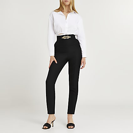Black knot front cigarette trousers