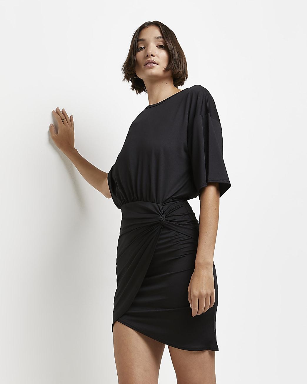 Black knot front mini dress