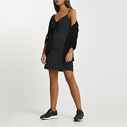 Black knot front Mini Slip dress
