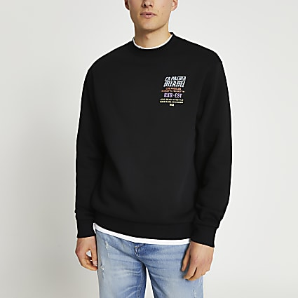 Black 'La Palma Miami' back print sweatshirt