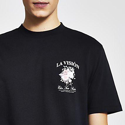 Black 'La Vision' print regular fit t-shirt