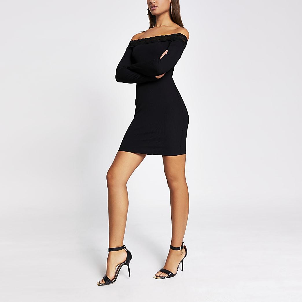 Zwarte geribbelde bardot mini-jurk met kant