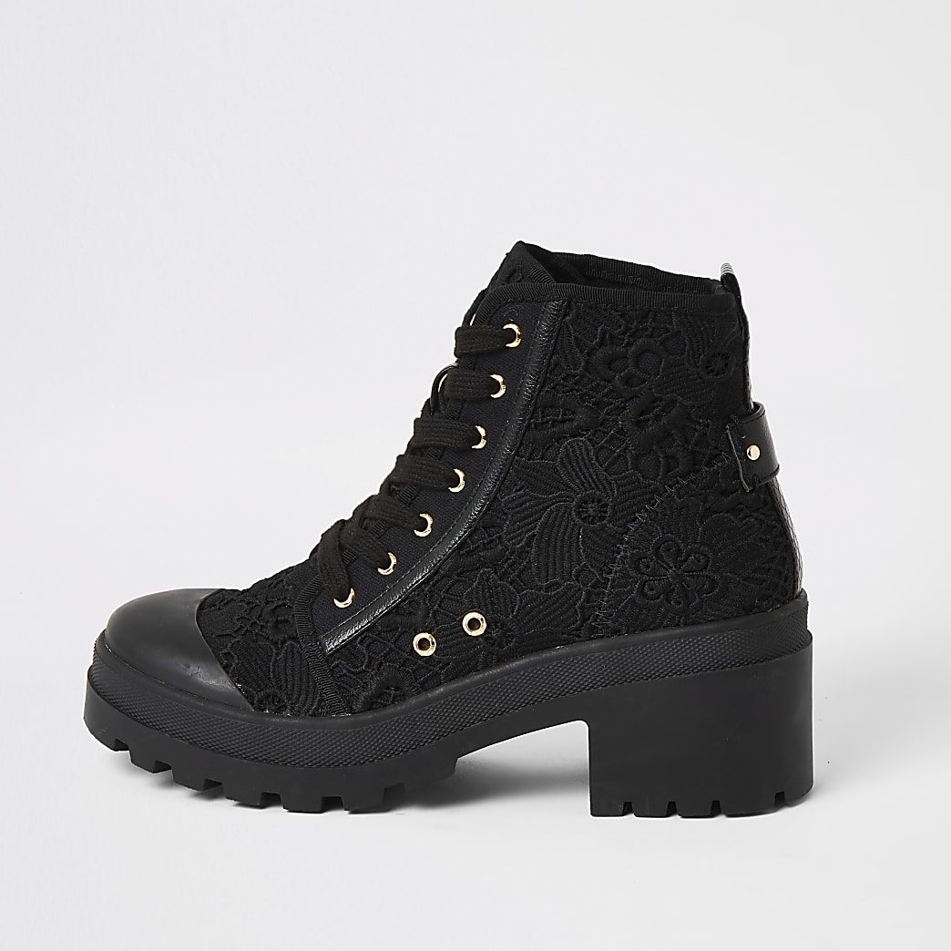 Black lace chunky ankle boots