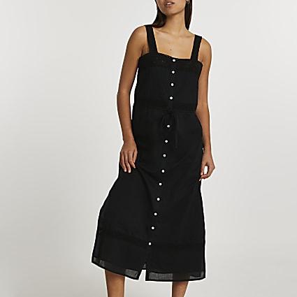 Black lace cotton button up midi dress
