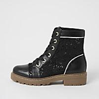 Black lace detail  flat ankle boots