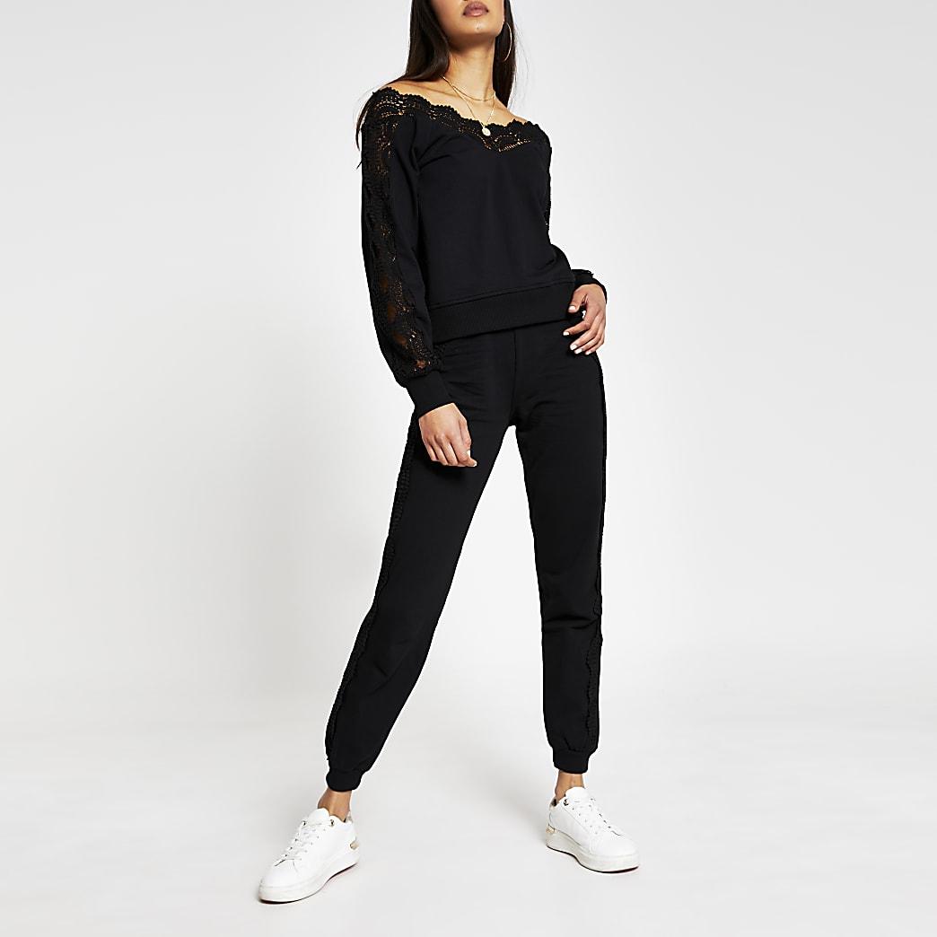 Black Lace Detail Jogger