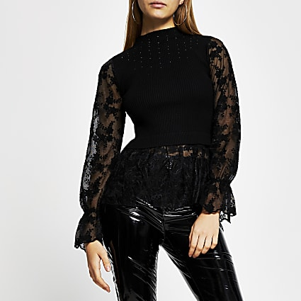 Black lace embellished knit top