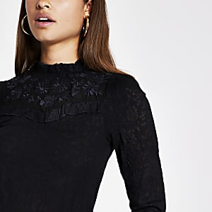 Black lace embroidered frill high neck top