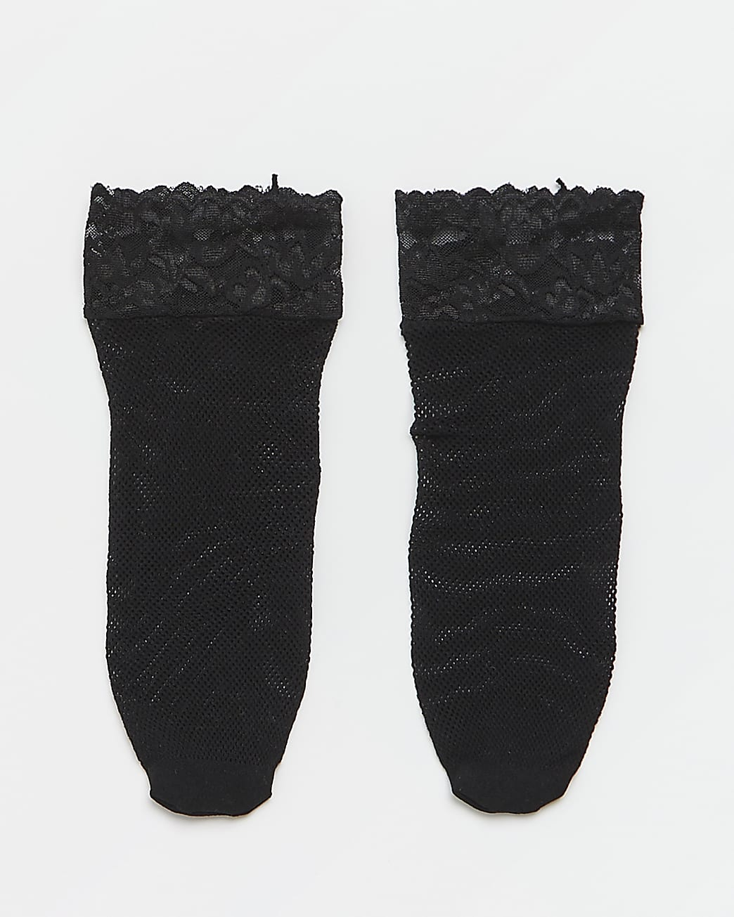 Black lace fishnet socks