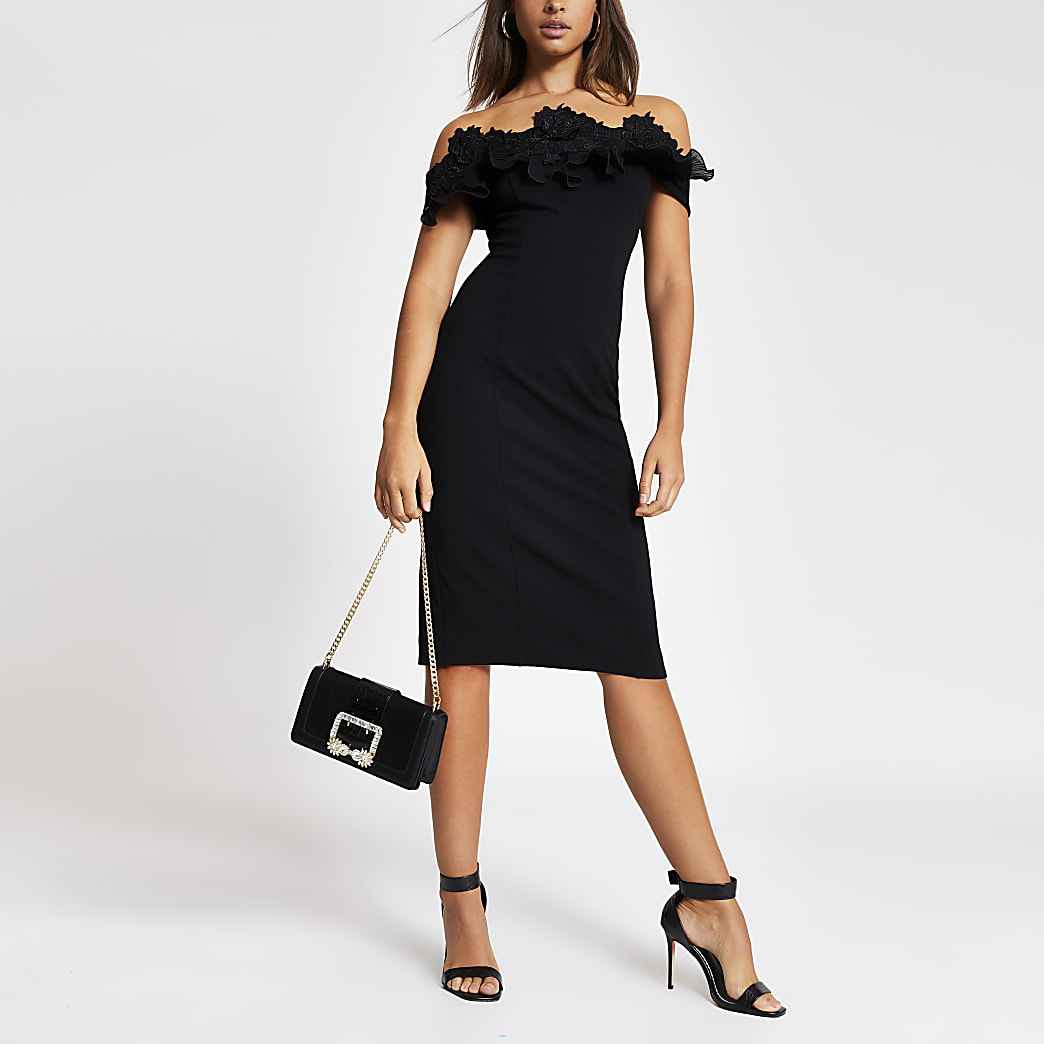 Black lace frill bardot bodycon midi dress
