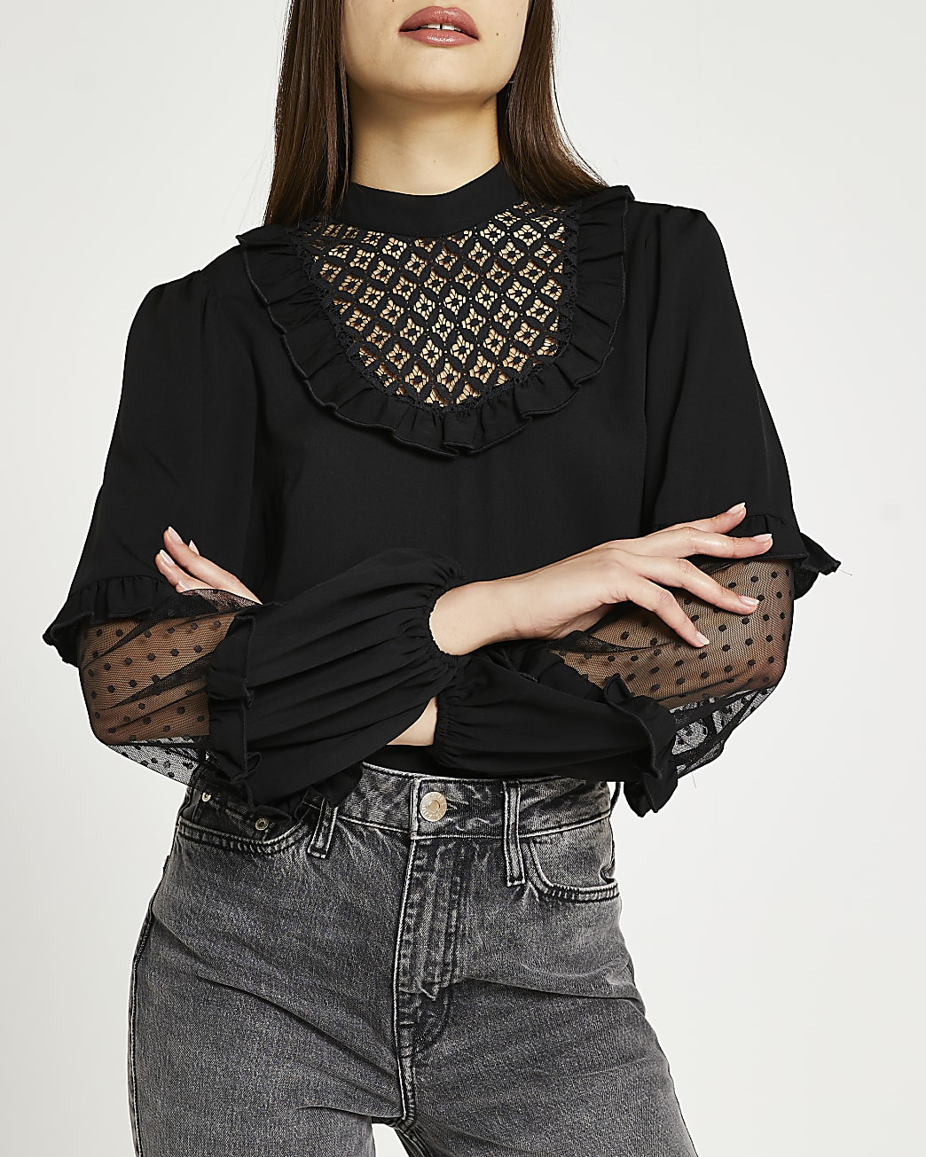 Black lace frill long sleeve blouse top