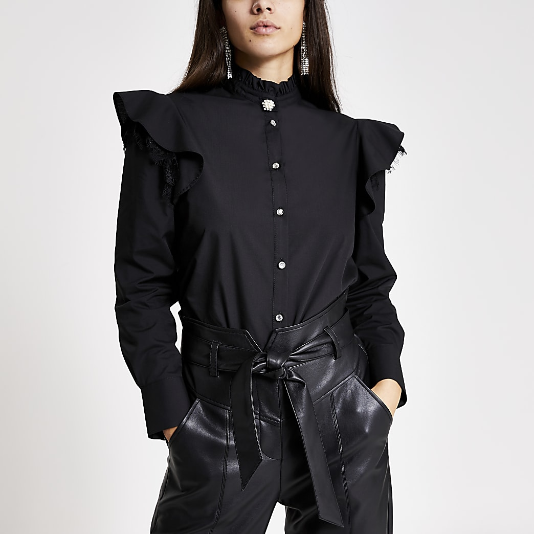 Black lace frill long sleeve poplin shirt