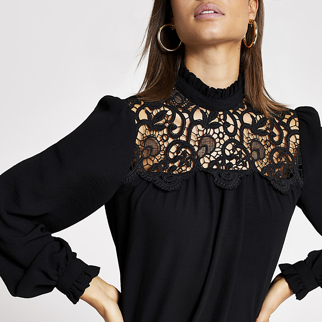 Black lace frill neck blouse
