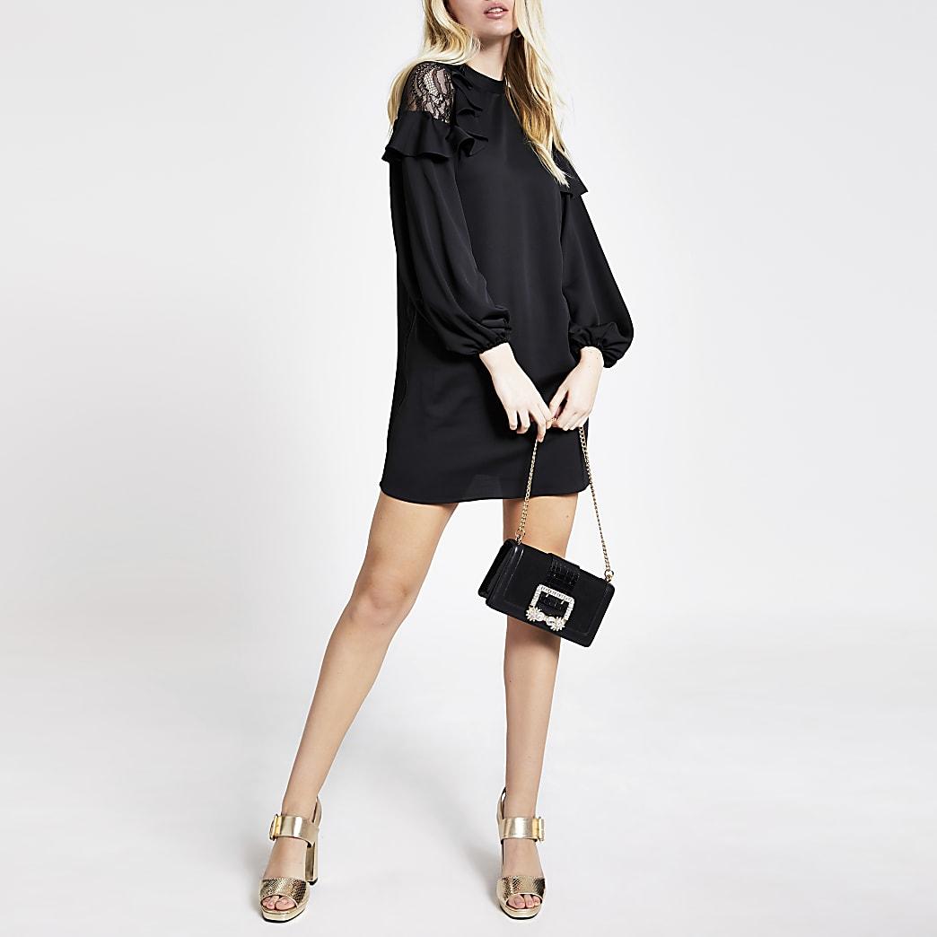 Black lace frill shoulder mini swing dress