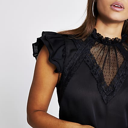 Black lace frill sleeve sheer blouse