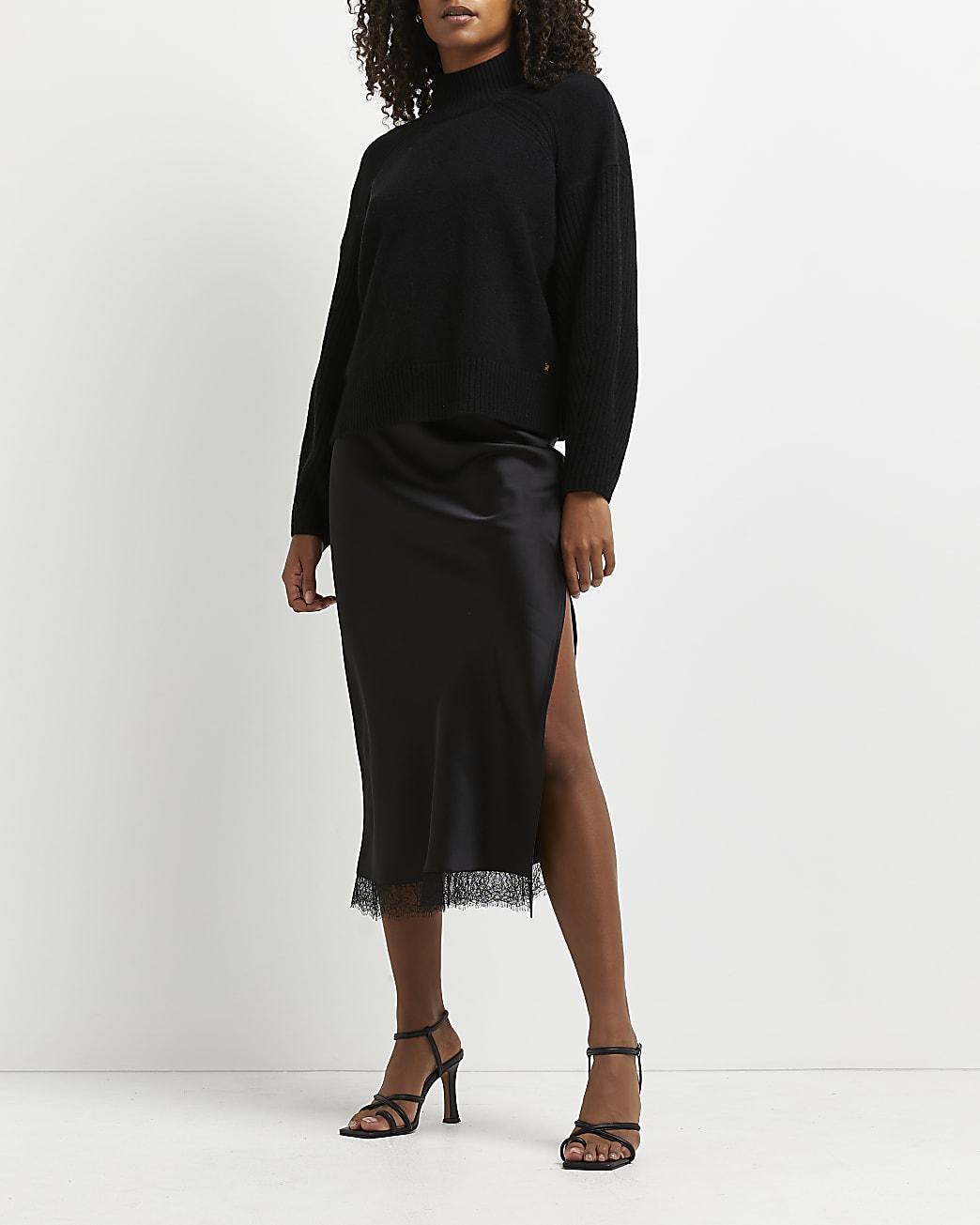 Black lace hem midi skirt