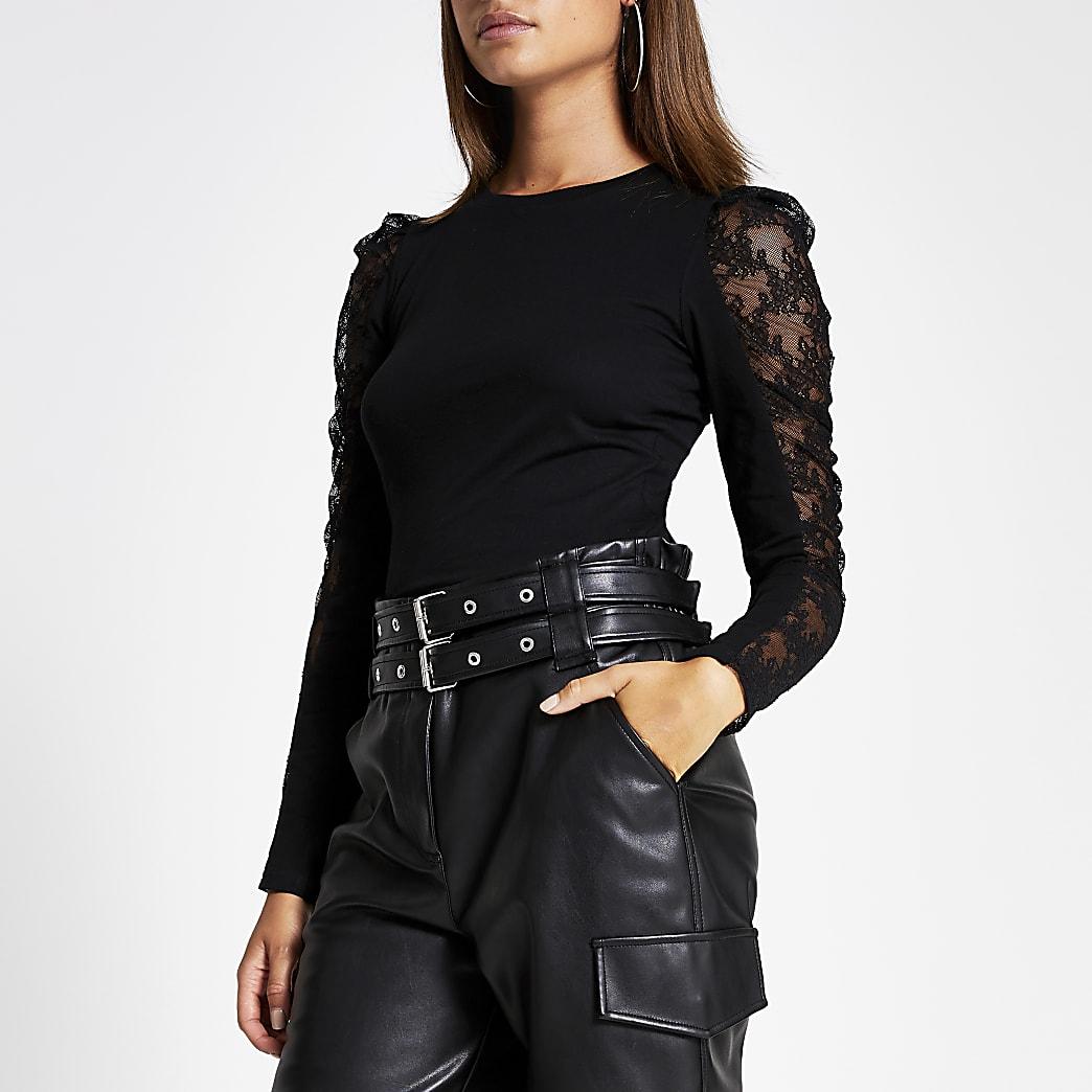 T-shirt noir à manches longues bouffantes transparentes en dentelle