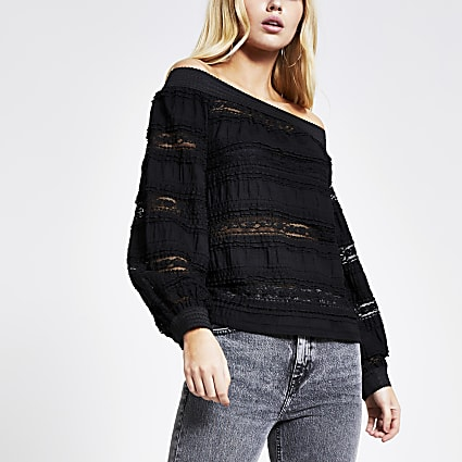 Black lace long sleeve bardot top