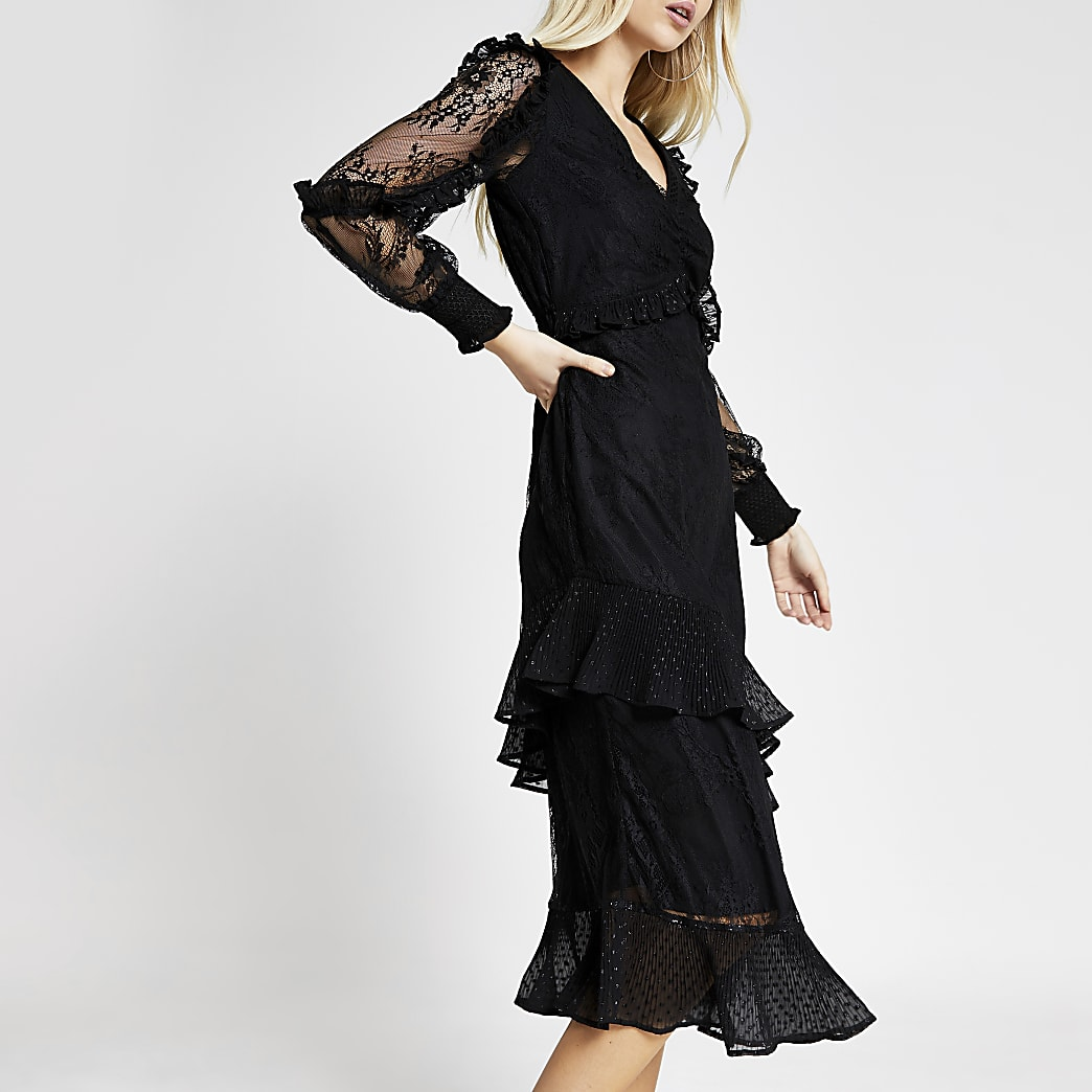 Black lace long sleeve frill midi dress