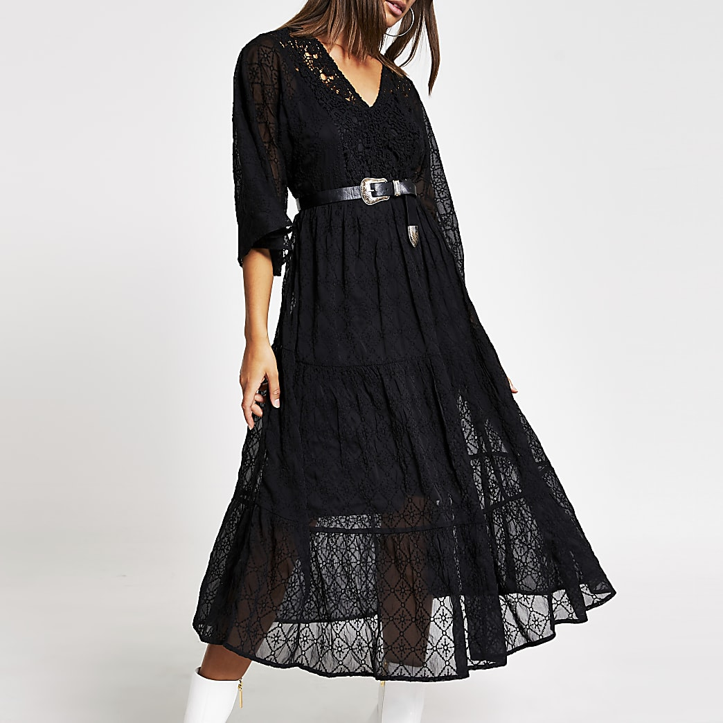 Black lace long sleeve midi smock dress