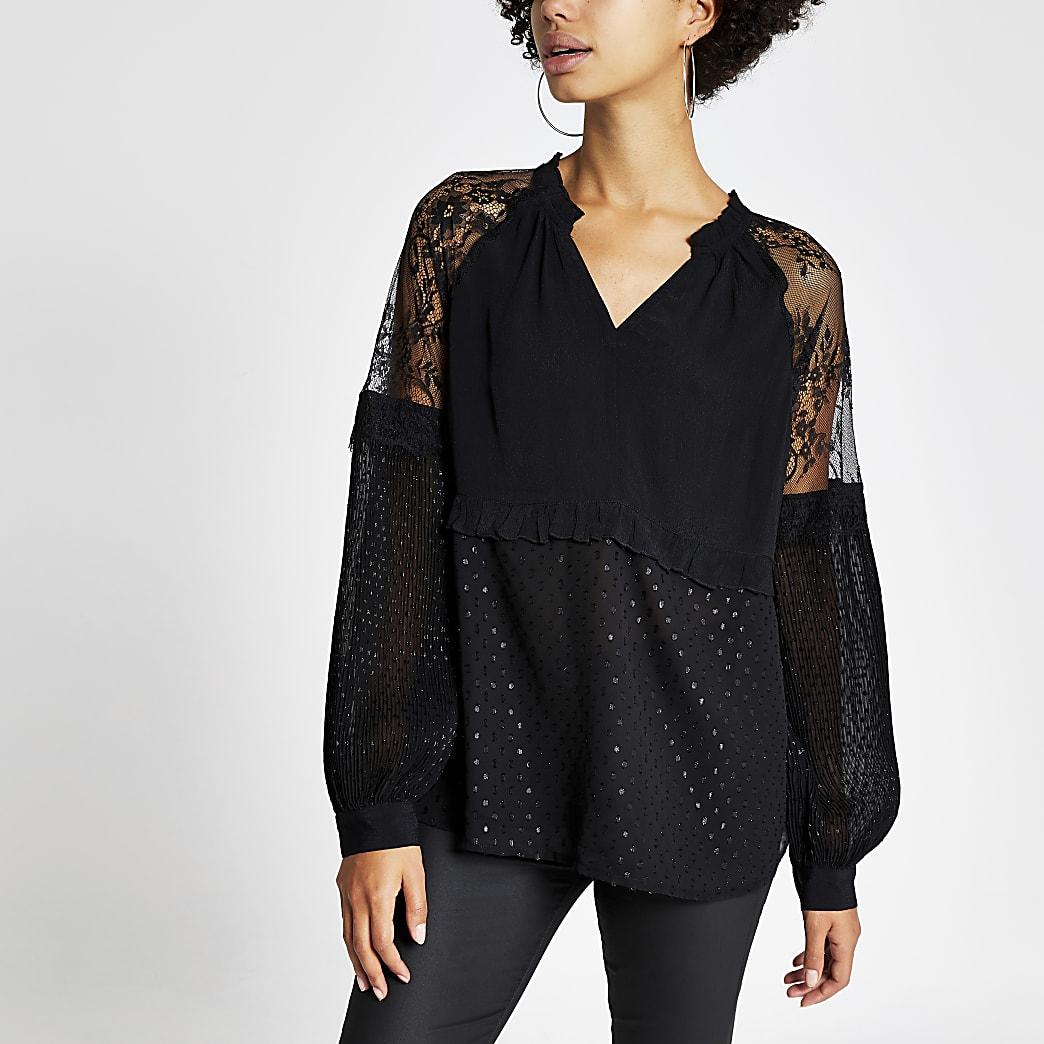Black lace long sleeve V neck sheer top