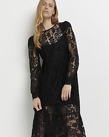 Black lace midi dress