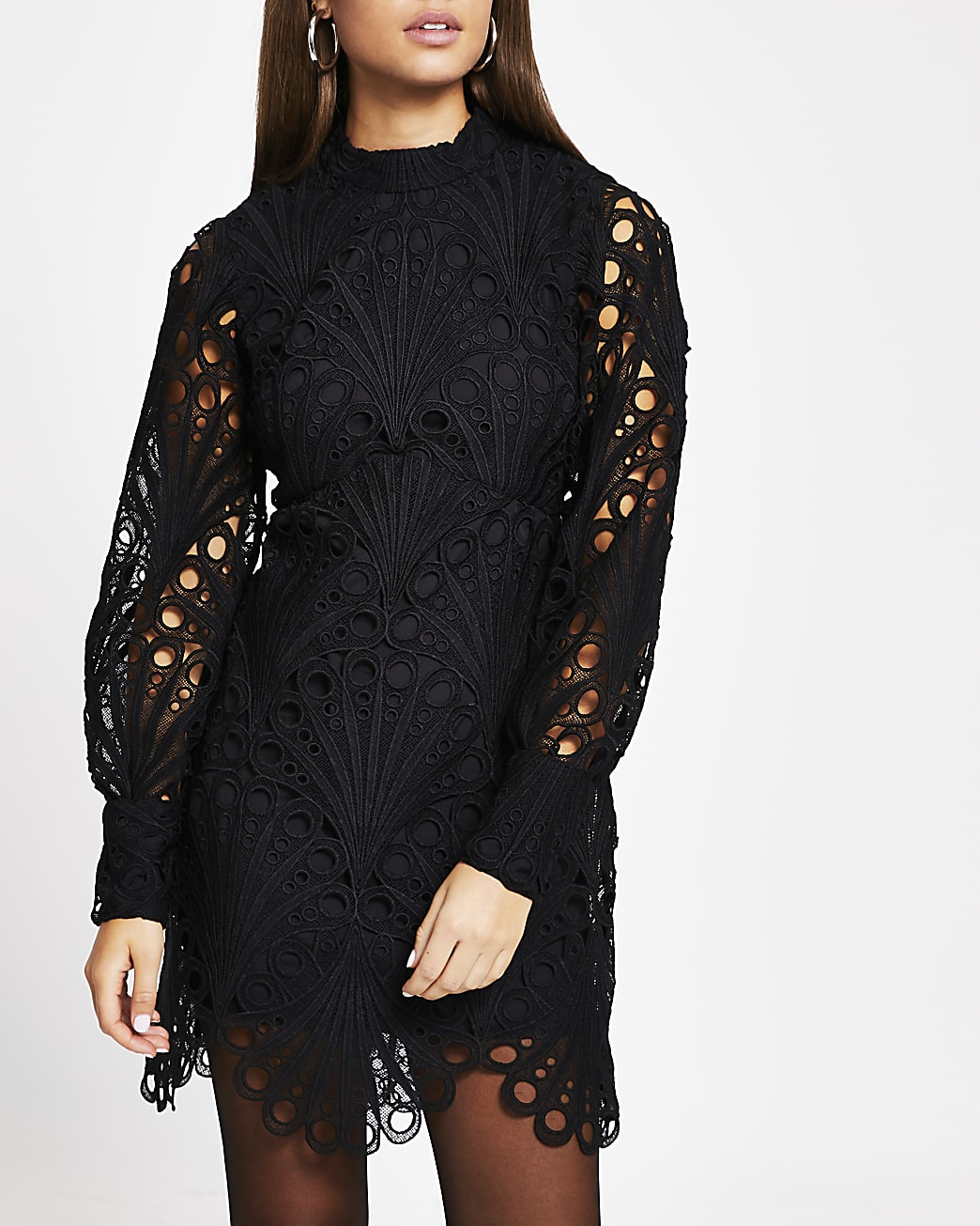 Black lace puff sleeve shift dress