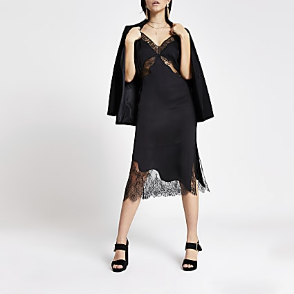 Black lace satin midi slip dress