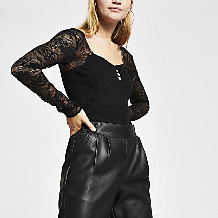 Black lace sleeve bodice top