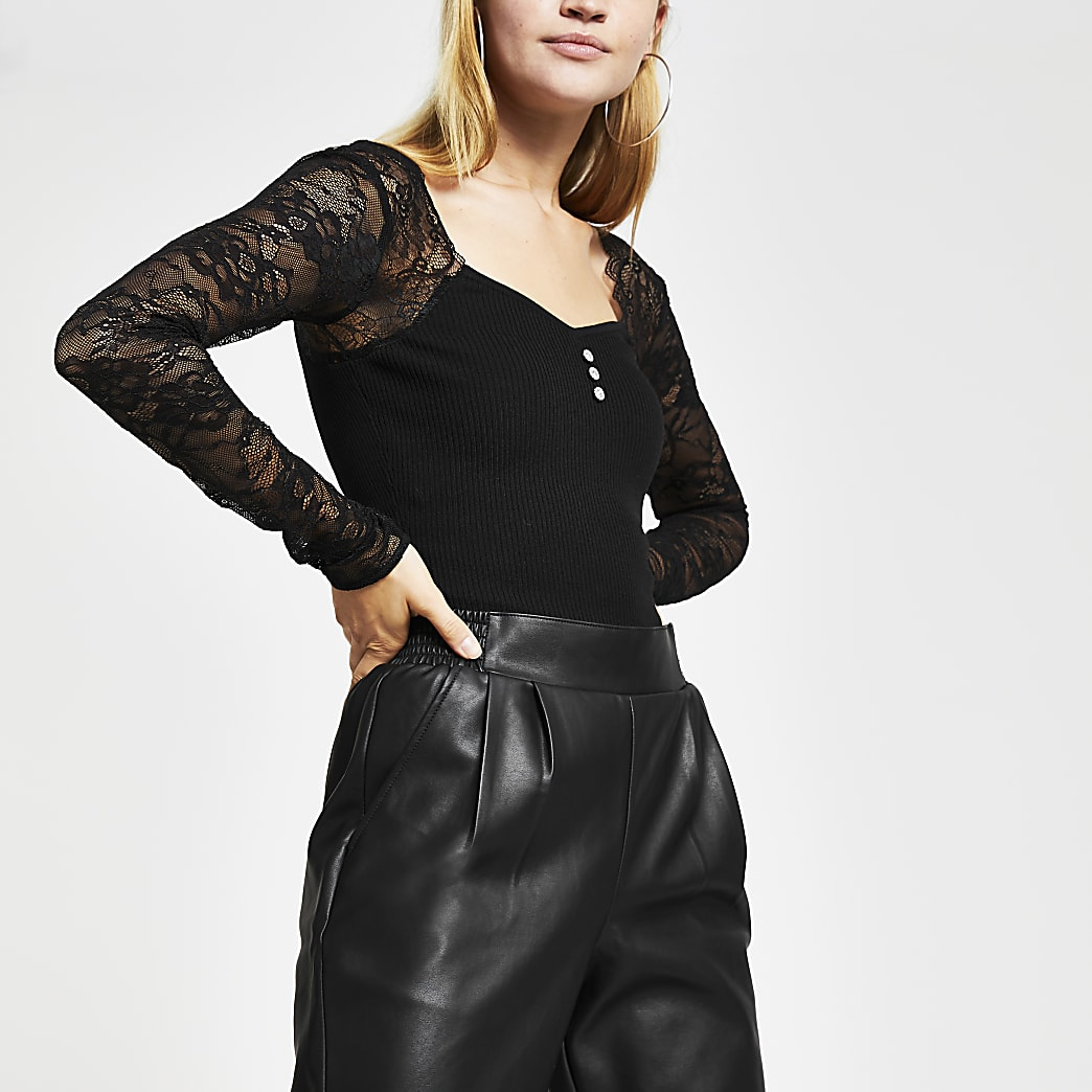 Black lace sleeve bodice top
