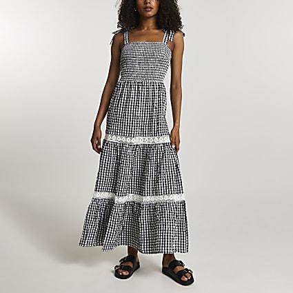 Black lace trim gingham maxi dress
