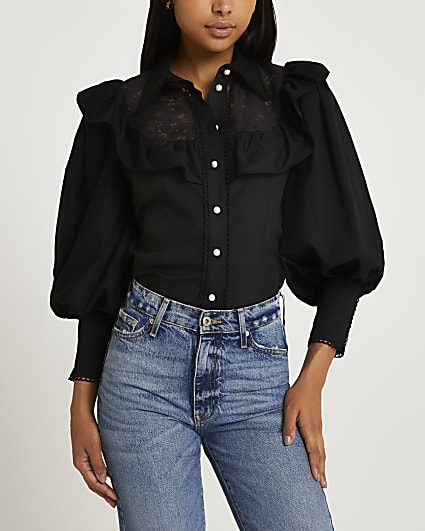 Black lace trim puff sleeve shirt
