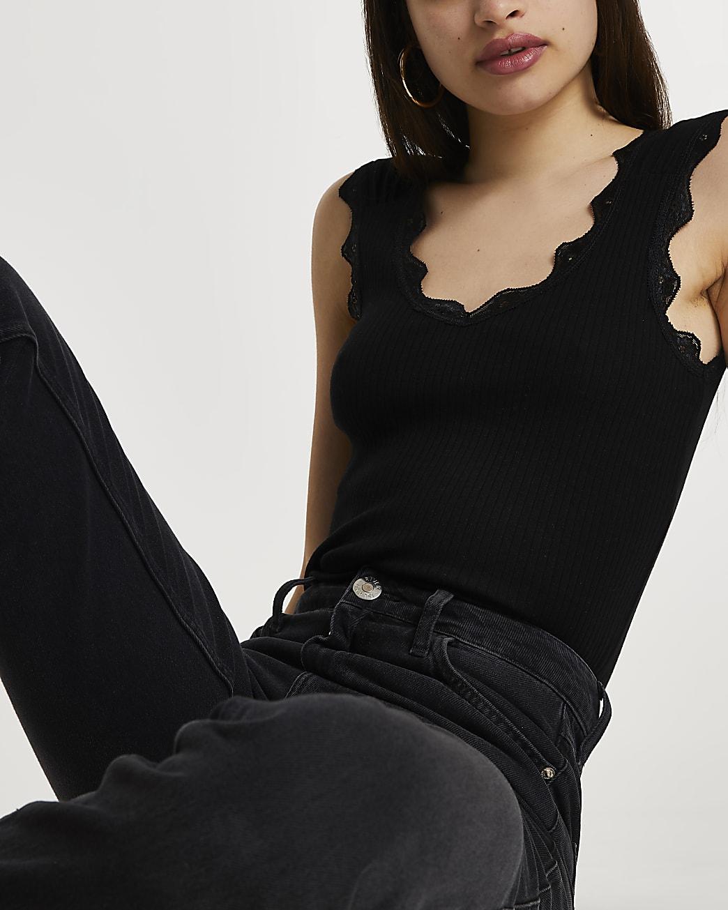 Black lace trim rib vest