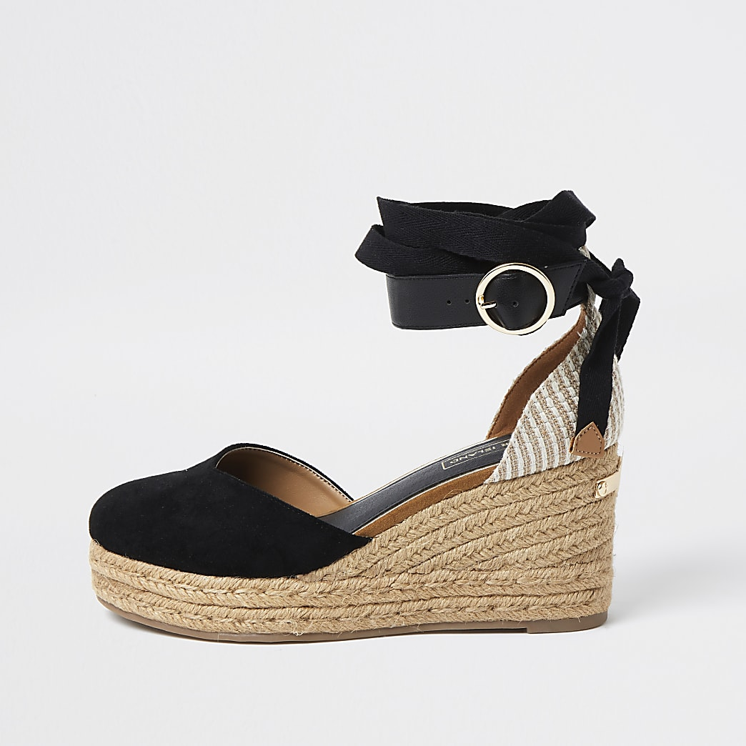 Black lace-up ankle espadrille wedge sandals