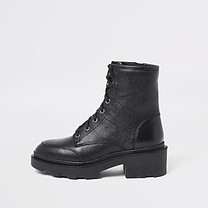 Black lace up back tab boots