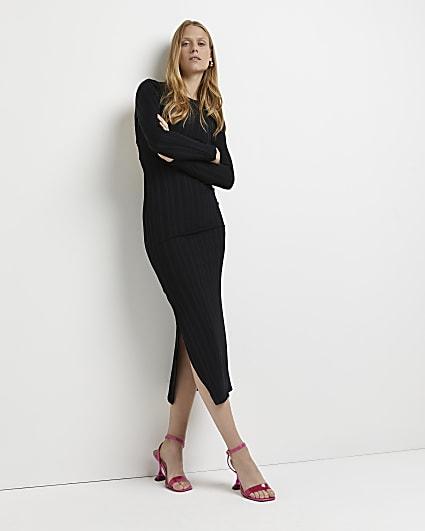 Black lace up bodycon midi dress