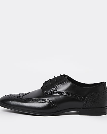 Black lace up brogue derby shoes