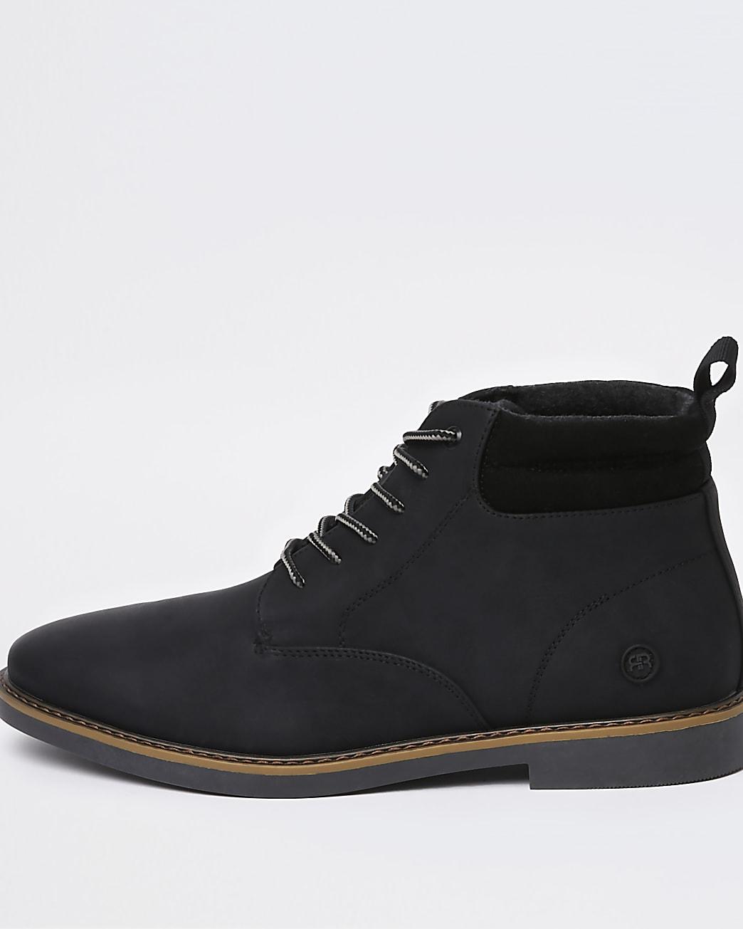 Black lace up chukka boots