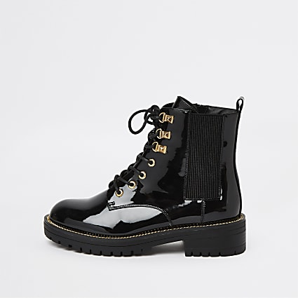 Black lace up chunky ankle boot