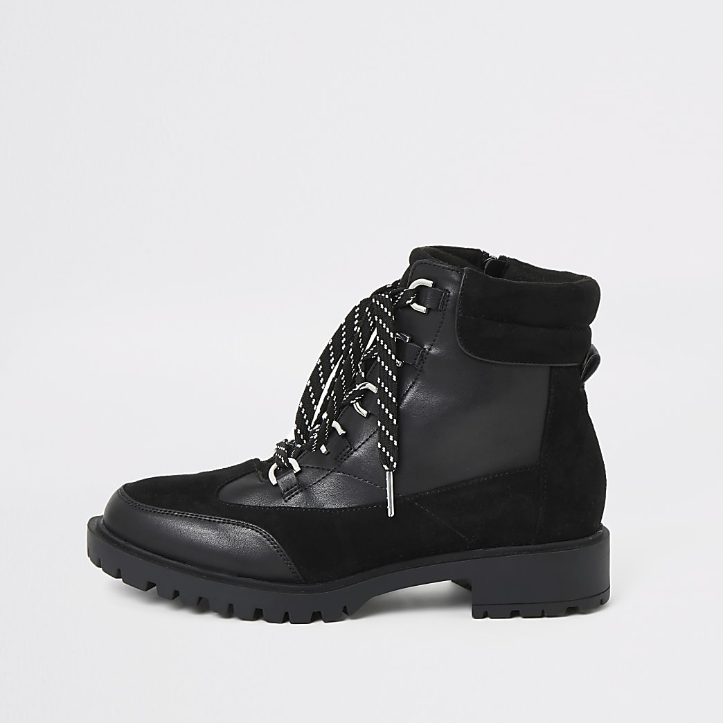 Black lace-up chunky hiker boots