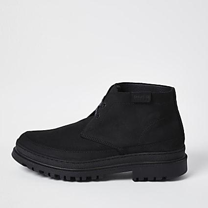 Black lace up desert boots
