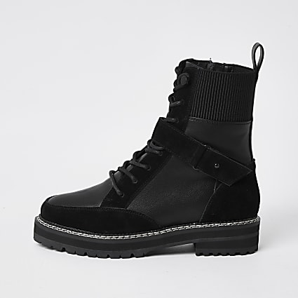 Black lace up faux leather hiker boots
