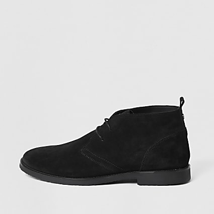 Black lace-up faux suede chukka boots