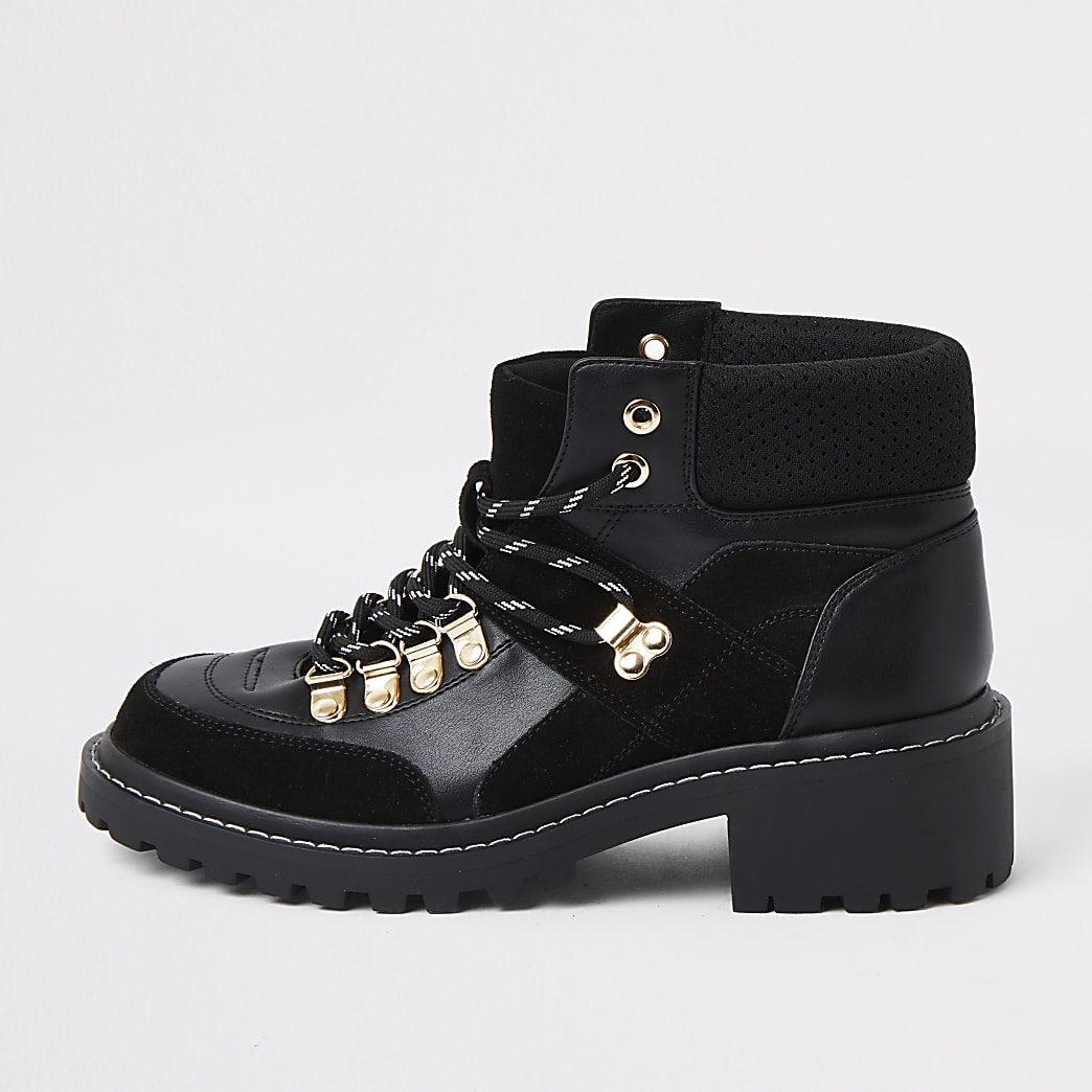 Black lace up hiker ankle boot