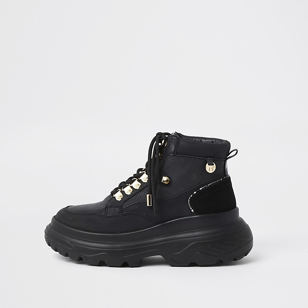 Black lace up hiker ankle boots