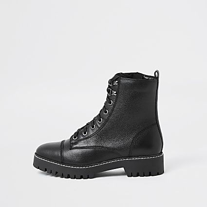 Black lace up hiker boot