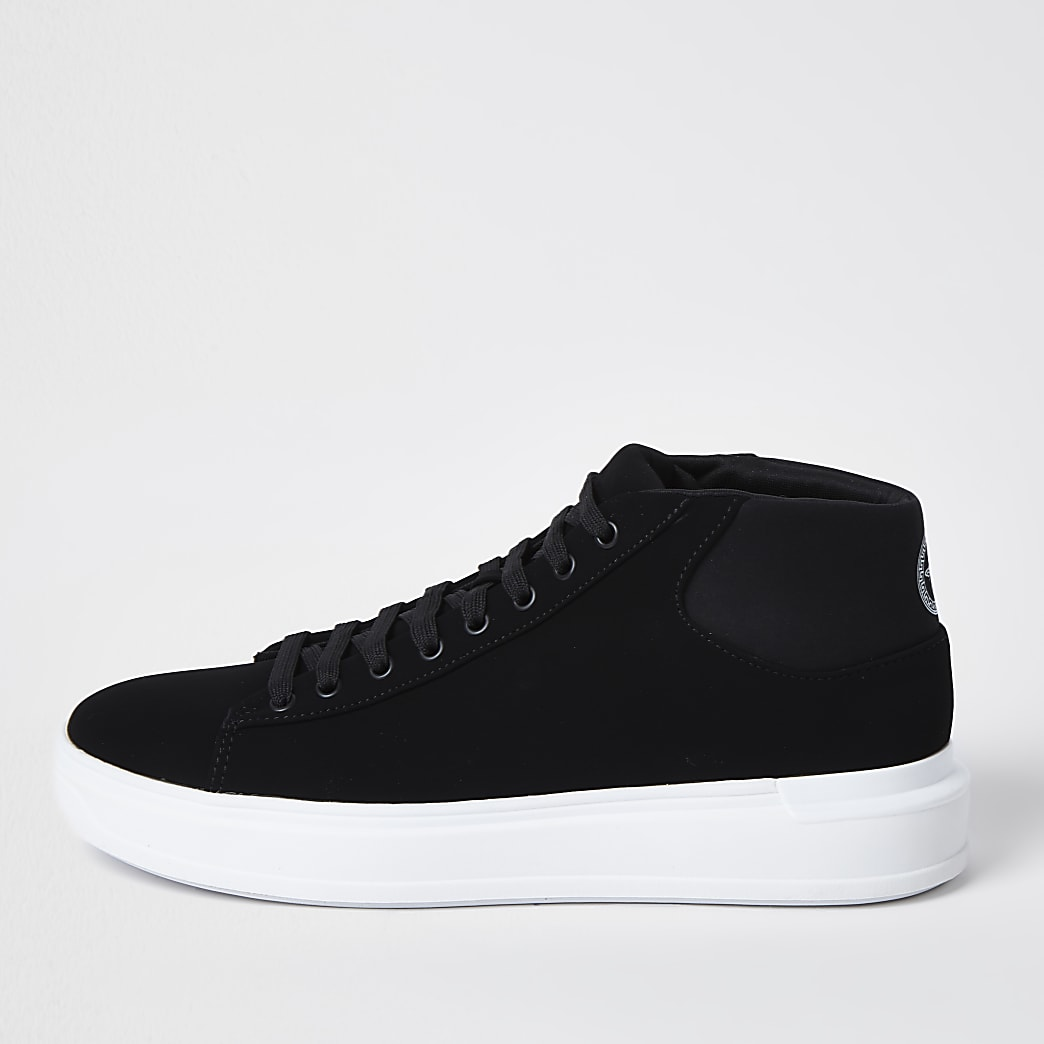 Black lace up mid top trainers