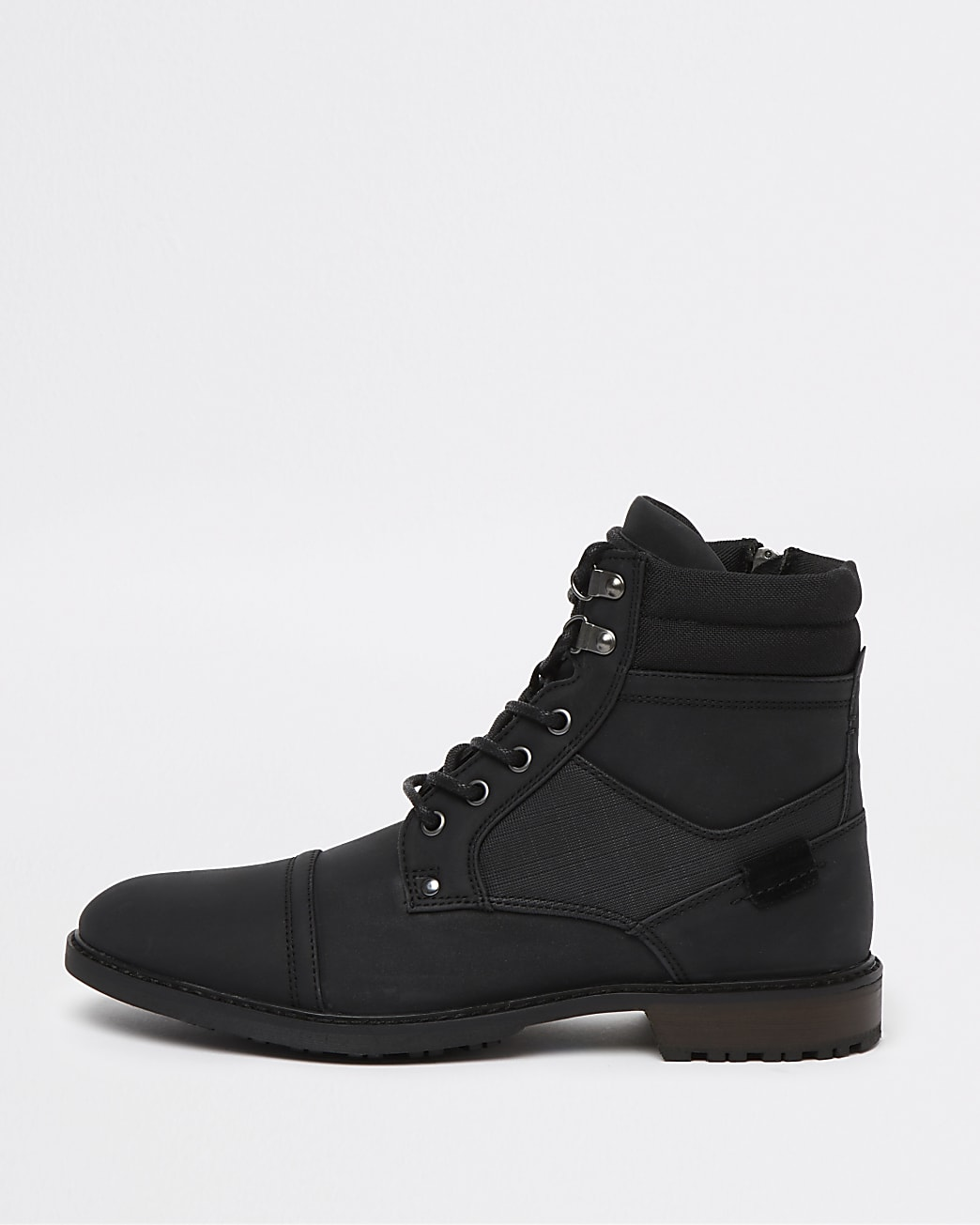 Black lace up military boots