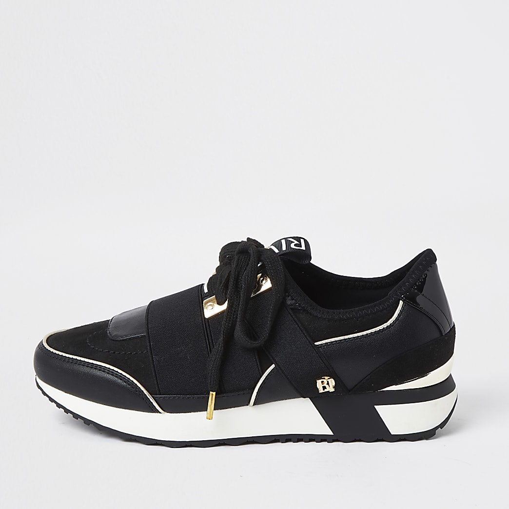 Black lace up runner trainer