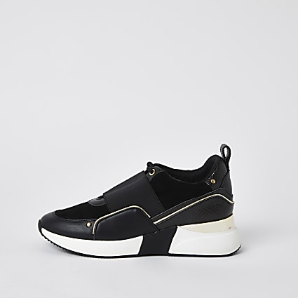 Black lace up slip on trainers